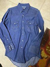 Wrangler X-long Tails Men's Blue Jean Pre-shrunk Shirt! 15-1/2 X 32!