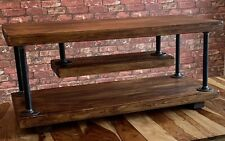 Industrial Bespoke TV Stand Cabinet. Coffee Table. Wood in Dark Oak. Rustic.