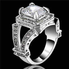 White Zircon Crystal Ring Women's 18KT White Gold Filled Wedding Band Size 7