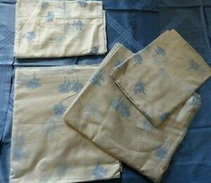 Pratesi top sheet & pillow cases platinum blue SET cotton jacquard TREES new