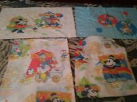 Vtg 1970s Mickey Minnie Mouse Twin Size Bedding FLAT & Fitted Sheet  Pillowcase