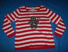 $59 New Nouveaux L Large Striped Red White Christmas Sweater Gingerbread Man