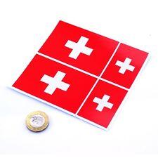 """Pegatinas bandera de Suiza x4 3"""" y 2"""" Vinilo Coche suizo Rally Racing calcomanías de ventana"""