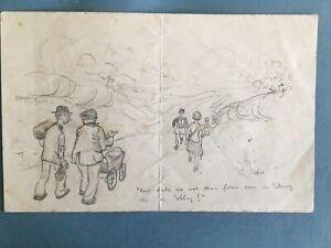 John Anthony, Cartoon of Hiking, pencil, 1932.