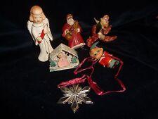 #314 vtg christmas MIXED LOT OF 6 ornaments gorham snow metal flake santas elf