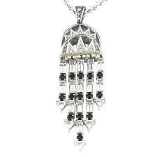 Andrea Candela 18k Gold Silver Black Spinel White Topaz Necklace ACP277/07-SWT