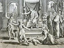 GRAVURE 18e s. Le jugement de Salomon  BIBLE Sacy MERIAN 1770