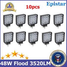 10PCS 48W Flood Beam Led Work Light 10V-30V Driving Fog Wrangler Cube Lamp 18/24