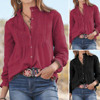 VONDA Women Baggy Long Sleeve Tops Solid Vintage Cotton Shirt Ladies Blouse Tee