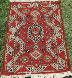 Small Kilim Rug Oriental Turkish Rug Wool Cotton Hand Woven Soumak Tribal 2x3 ft
