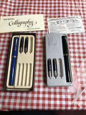 Lot 2 Vtg Sheaffer Calligraphy Pens Nononsense 6 Tips Writing Italic Eaton Write