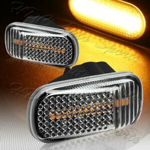 For 2001-2009 Honda Civic Black/Clear Amber LED Turn Signal Side Marker Lights