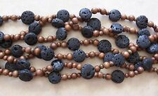 "16"" Strand Black Lava Stone Large Thick Coin & Wood Round Beads 6mm-20mm"