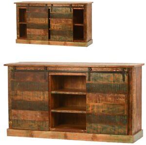"65"" Long Berengario Sideboard Sliding Doors reclaimed wood Multiple Shelves"