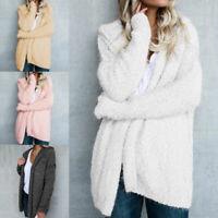 Women Teddy Bear Coat Jacket Winter Fluffy Loose Cardigan Outwear Plus Size 8-22
