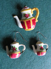 Handcrafted Handpainted RED/YELLOW 'CHECKS' Coffee Pot Earrings & Brooch - NEW