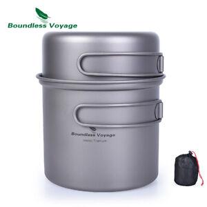 Titanium Bowl Pot Set with Folding Handle Outdoor Camping Picnic Ultralight
