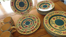 Yellow Green Dinner Plates Salad Plates Mugs in Bouquet Tabletop Galleries 18pcs