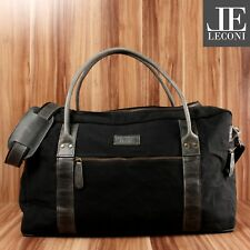 #843 LECONI Reisetasche groß Weekender Canvas Leder schwarz LE2014-C B-Ware