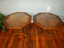 Pair Vintage 1970s Glass Top End Tables Weiman Furniture