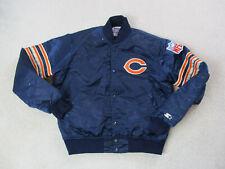VINTAGE Starter Chicago Bears Jacket Adult Medium Blue Satin Football Men 90s *