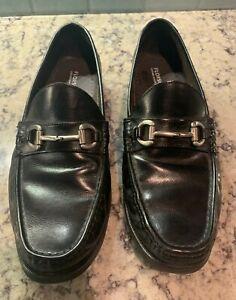Men's 9.5 Florsheim Loafer Bit Buckle Black Leather Shoes
