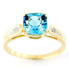 Natural Topaz Solitaire with Accents Yellow Gold Fine Rings