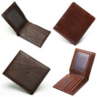 Men's Top Grain Leather ID Window Multi-Currency Slim and Compact Bifold Wallet