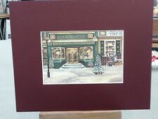 JANICE TANTON  MATTED CARD COUNTRY ATTIC GIRT TOY STORE CHRISTMAS WINDOW GIRLS