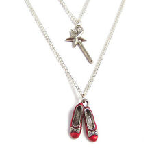 Wizard of Oz necklace RUBY RED slippers wand Dorothy no place like home Toto