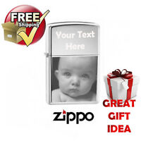 PHOTO ENGRAVED ZIPPO LIGHTER CHROME POLISHED, FREE PERSONALISED, stunning GIFT