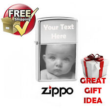 PHOTO ENGRAVED ZIPPO LIGHTER CHROME POLISHED, FREE PERSONALISED, Memorial.