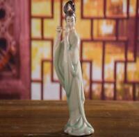 "7.8"" Chinese Handmade Porcelain Blow Xiao Beautiful Woman Figurines Statues"
