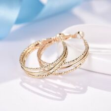 Women Yellow Gold Filled Large Round Circle Hoop Earrings Antique Party Jewelry