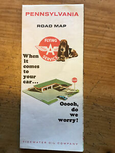 1966 Flying A Service Road Map - Pennsylvania