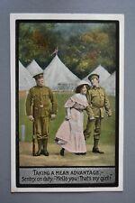 R&L Postcard: WW1 Valentine's Comic, Soldier Stealing Sentry Guard's lady