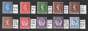 GB QEII Wilding Coil Stamps x 8 plus 2 x GVI MNH