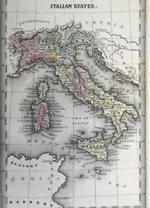 Italy Kingdom of Piedmont Lombardy Tuscany Papal States Naples 1832 Carey map