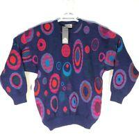 VTG Far Horizons Circles Mens Medium Sweater Australian Wool Factory Coogi Style
