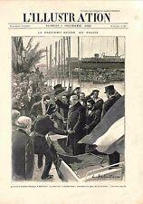 Arrivée à Marseille Paul Kruger Président République Afrique du Sud GRAVURE 1900