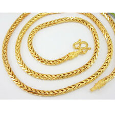 Braid 22K 23K 24K THAI BAHT Yellow Gold Plated Necklace 24 inch Jewelry 4 mm