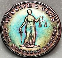 UC2A1 Upper Canada Lesslie & Sons Halfpenny Token Breton 718, Free Shipping!