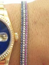 "18Kt Gem Blue Sapphire Ruby Diamond 3-Strand Tennis Bracelet 7"" 3.15Ct"