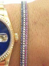 "18Kt Gem Blue Sapphire Ruby Diamond 3-Strand Tennis Bracelet 7"" 3.15Ct"