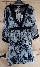 M&S PER UNA TIE NECK, LONG SHEER TUNIC TOP SIZE SMALL (10-12) WORN ONCE