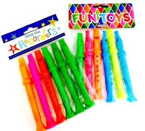 PACK OF 6 MINI MUSICAL FLUTES WHISTLES RECORDERS 14 CM KIDS TOY PARTY BAG FILLER