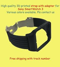 Sony SmartWatch 3 SWR50 Adapter & Black Silicone Strap