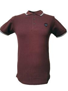 Warrior UK England Pique Polo Shirt Oxblood Burgundy Slim-Fit Skinhead Mod Hemd