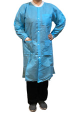 Disposable Lab Coat 3 Pockets Blue or Pink  Knit Cuff & Collar 5 pcs Knee Length