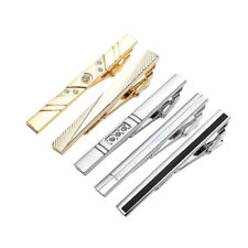 5pcs Stainless Steel Silver Gold Crystal Mature Mens Necktie Tie Clip Clamp Bar